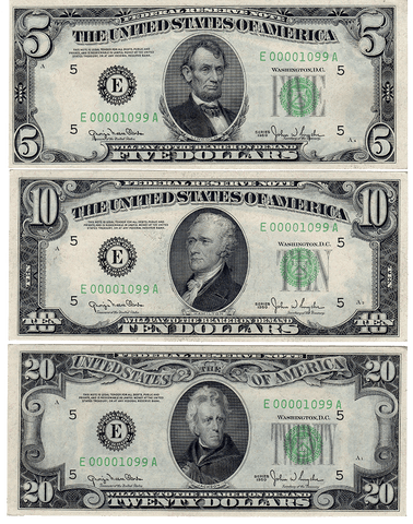 Trio of Low/Matching Serial Number 1950 Series Notes, With Provenance Letter - Choice Uncirculated
