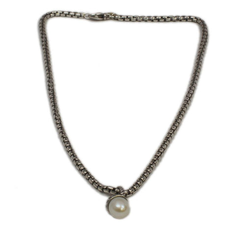 David Yurman Sterling Pearl Necklace w/ 14K Gold Tag