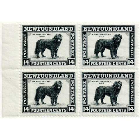 1941 Newfoundland 14¢ Newfoundland Dog Scott #261 Block of 4 - Mint OG NH VF