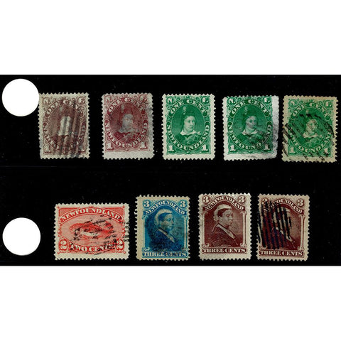 Set of 9 Early Newfoundland Stamps - Used