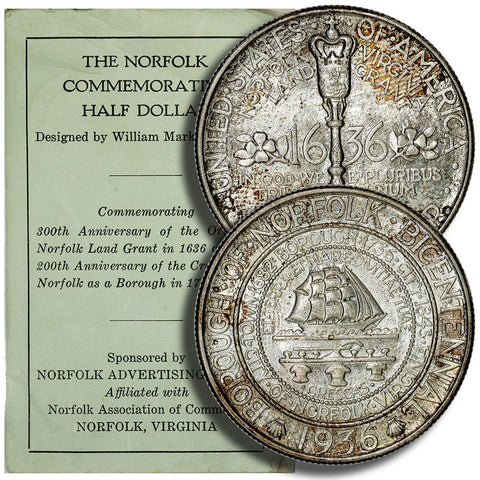 1936 Norfolk, Virginia Silver Commemorative Half Dollar - Gem Unc - With Original Booklet