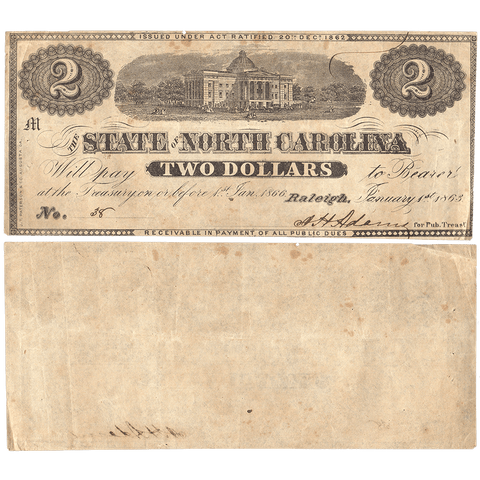 1863 $2 State of North Carolina Note - Cr. 131 - Crisp Very Fine