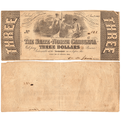 1863 $3 State of North Carolina Note - Cr. 125 - Choice Very Fine