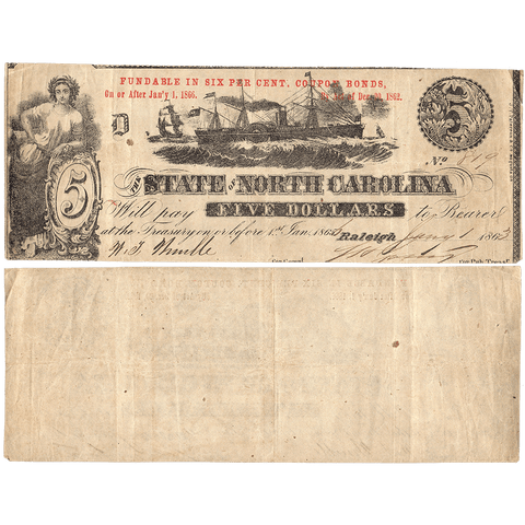 1863 $5 State of North Carolina Note - Cr. 124 - Crisp Very Fine