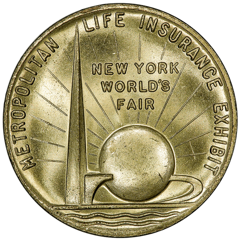 1939 New York Worlds Metropolitan Life Insurance Gilt Bronze Medal - PQ Brilliant Uncirculated