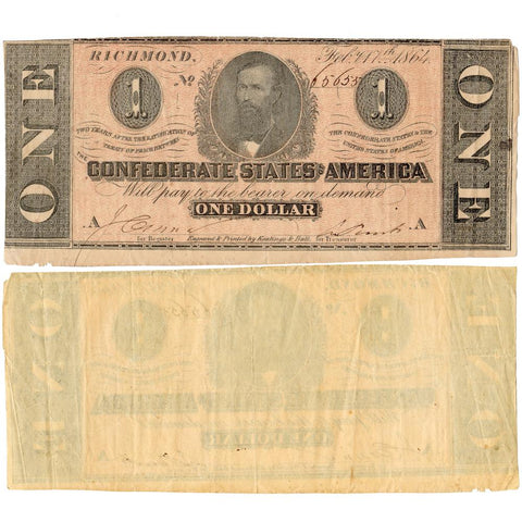 T-71 Feb. 17 1864 $1 Confederate States of America (C.S.A.) PF-4/Cr.577 - Very Fine