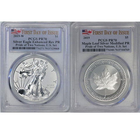 2019 Pride of Two Nations Silver Eagle & Maple Leaf - PCGS 70