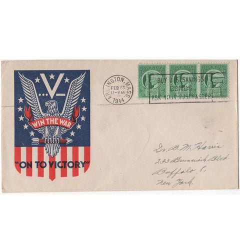 "Feb. 23, 1944 ""On to Victory"" WW2 Patriotic Cover"