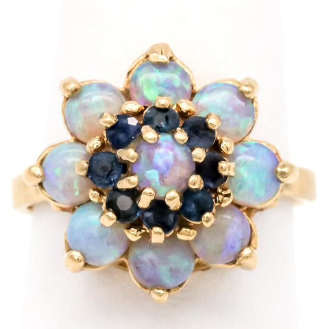 Pretty 14K Gold Opal and Sapphire Ring - Size 5 1/2