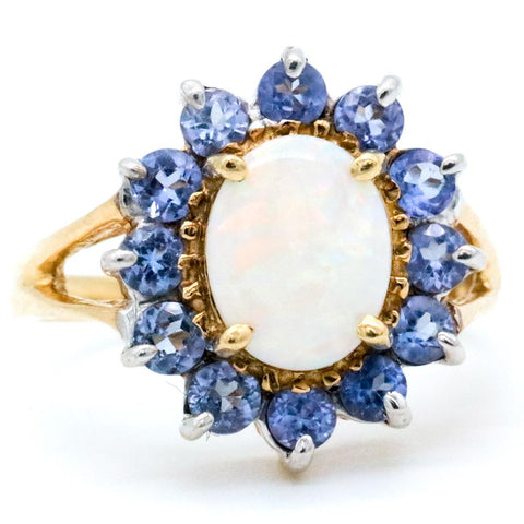 14K Gold Opal & Tanzanite Ring - Size 6 3/4