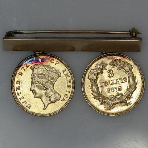 1874 & 1878 $3 Princess Gold Coins Pin - About Uncirculated Details