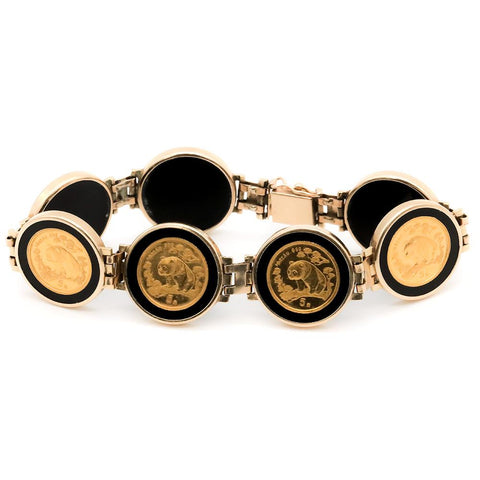 14K Gold Bracelet with Seven 1997 1/20th Oz 5 Yuan Gold Pandas KM. 984 - 7 1/4""
