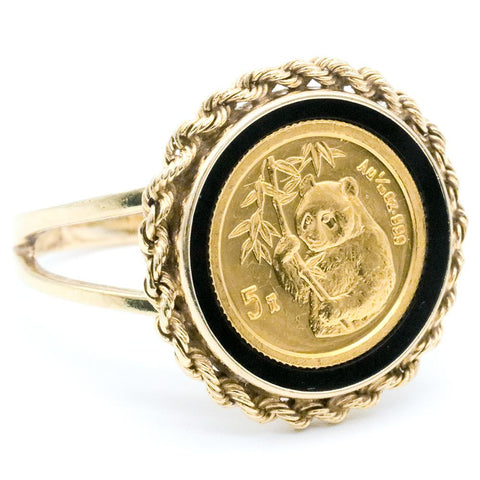 14K Gold Ring with 1995 5 Yuan 1/20th Ounce Gold Panda KM.715 - Size 7 1/2