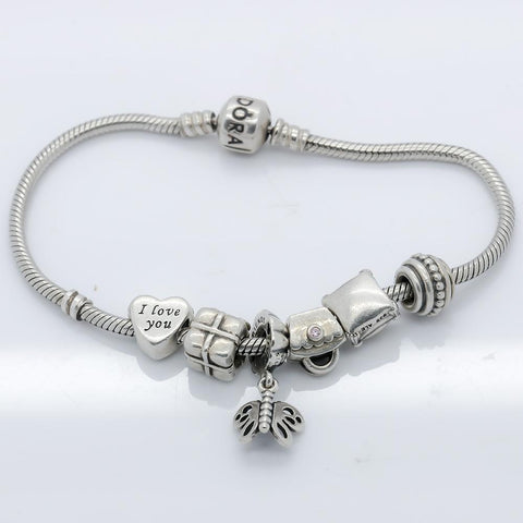 Authentic Pandora Sterling Silver Bracelet with 6 Charms