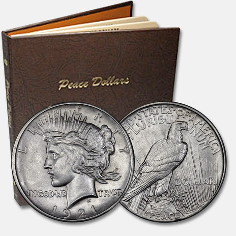 Complete 1921-1935 P-D-S Peace Dollar Sets with Dansco Album
