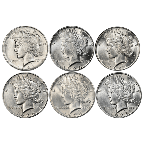 A Phenomenal Peace Dollar Deal - 1921, 1925-S, 1927, 1934, 1934-D & 1935-S - PQ Brilliant Uncirculated