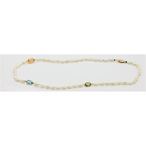 "14K Freshwater Pearl with Citrine, Peridot & Aquamarine Necklace, 17"" Long"