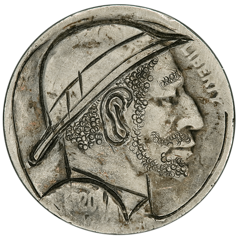 1920 Keith Pedersen Hobo Nickel - XF Hand Carving - VG Nickel