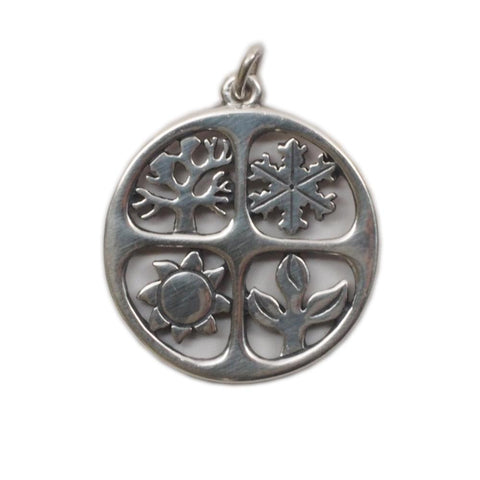 Large Retired James Avery Sterling Silver 4 Seasons Pendant, Charm
