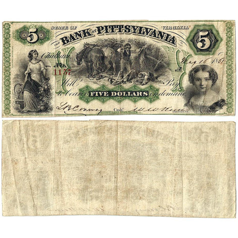 1861 $5 Bank of Pittsylvania, Chatham Branch, Virginia VA-50-G2b - Very Fine