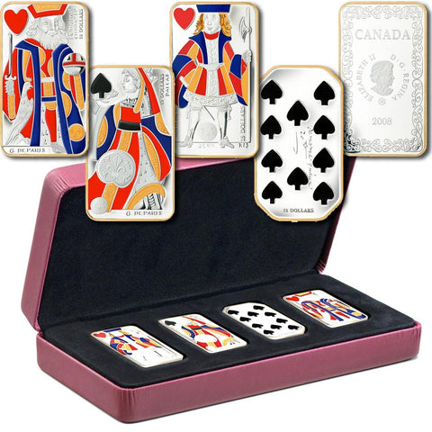 Royal Canadian Mint Sterling Silver Playing Card Money Set in Box w/ COAs