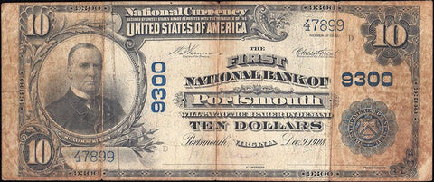 1902 Plain Back $10 First National Bank of Portsmouth, VA Charter 9300 - Net VG/Fine