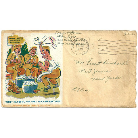 Jun 24, 1943 Potato Peeling Record Patriotic Cover Camp Maxey, TX CDS