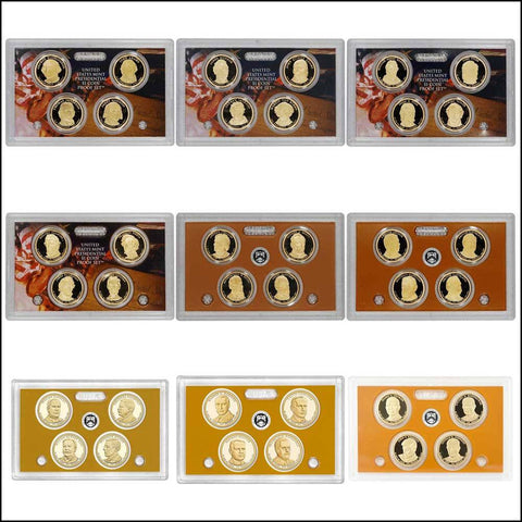 2007 - 2015 Presidential Proof Sets (4 Coins Per Set/9 Sets)