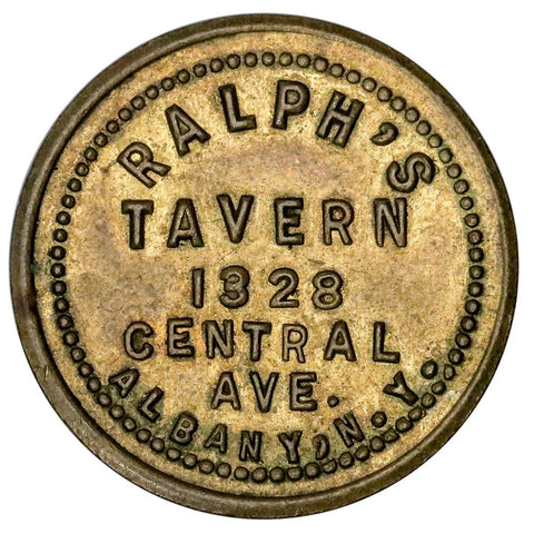 Albany, NY Ralph's Tavern 10¢ - Red & Brown About Uncirculated