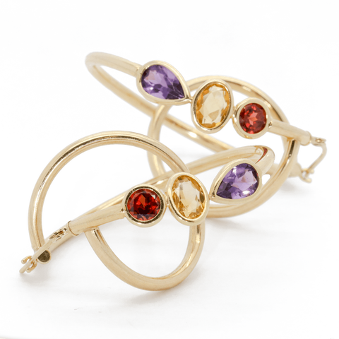 14K Gold Chic Semi-Precious Hoop Earrings - Garnet, Citrine, Amethyst