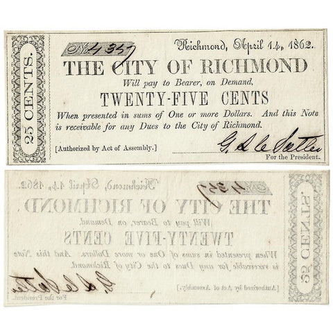 1862 25¢ City of Richmond, Virginia ~ Choice Crisp Uncirculated
