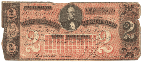 1861 $2 Corporation of Richmond, Virginia - Very Good