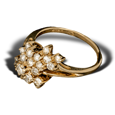 14K Yellow Gold Diamond Waterfall Cluster Ring (1 CTW) - Size 6.5