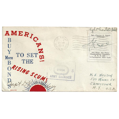 Aug 27, 1944 Rising Scum Boone Patriotic Cover - APO 528 Rome, Italy