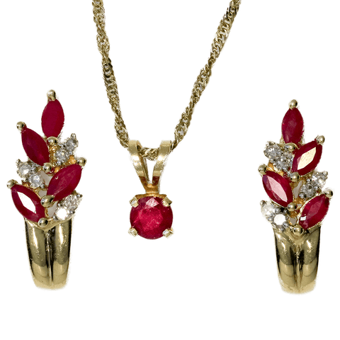 "14K Gold Ruby Necklace (18"") and Diamond & Ruby Earring Set"