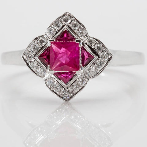 14K White Gold Diamond & Natural Ruby Ring, Size 6 1/2