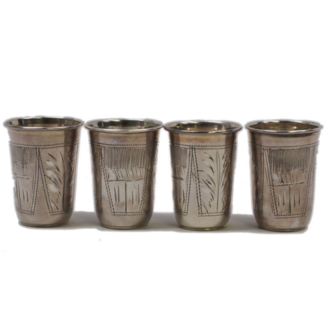 Early 20th Century Russian Silver Vodka Glasses - Set of 4