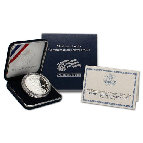 2009 Proof Abraham Lincoln Commemorative Silver Dollar in OGP w/ COA