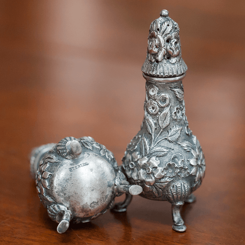 Pair A.G. Schultz Repousse Sterling Silver Salt & Pepper Shakers