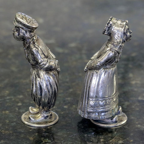 Early 20th Century Sterling Silver Boy & Girl Salt & Pepper Set - Germany