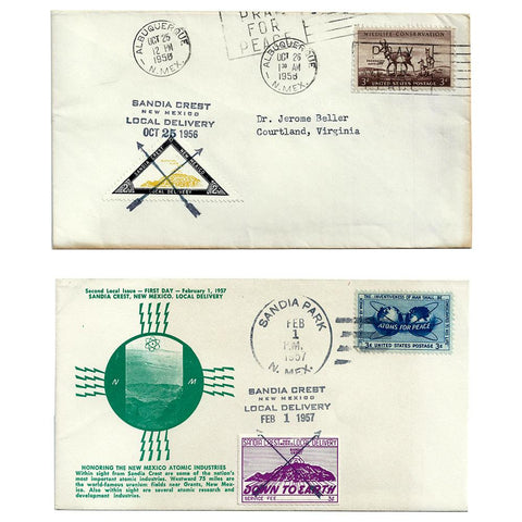 1956 & 1957 Sandia Crest Local Delivery First Day Covers