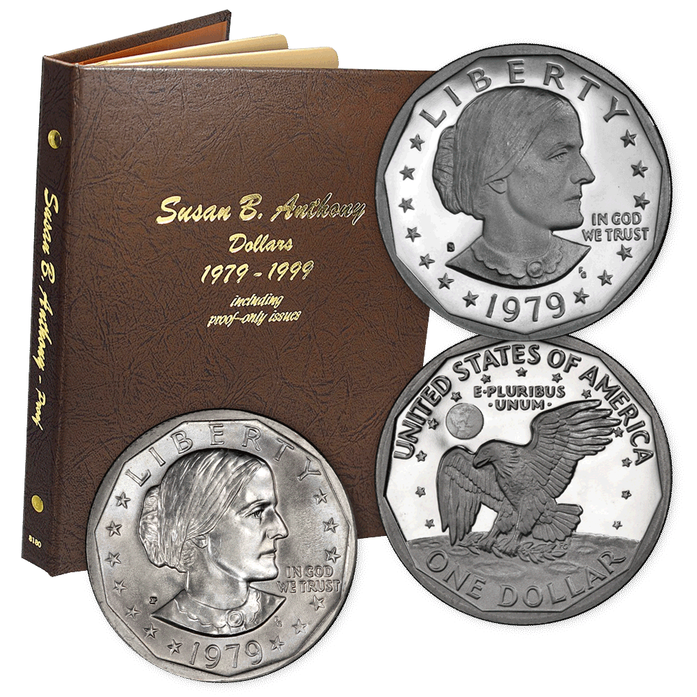 1979 to 1999 P-D-S Susan B  Anthony Dollar 18-Coin Sets in Dansco Album