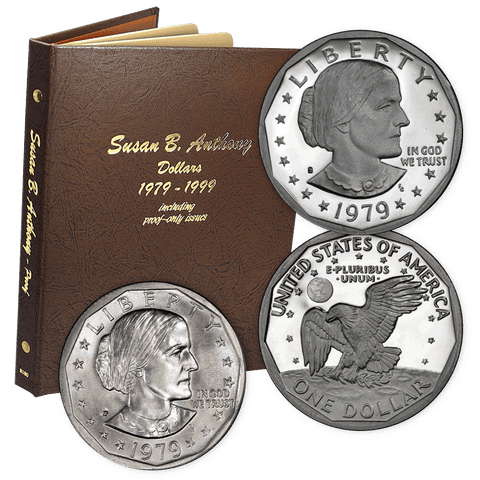 1979 to 1999 P-D-S Susan B. Anthony Dollar Sets in Dansco Album - 15, 16 & 18-Coin Sets