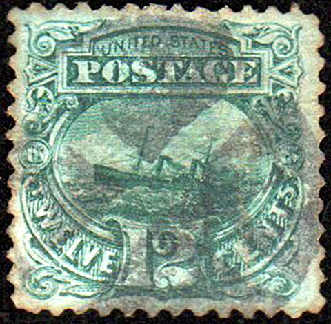Scott #117 1869 12¢ S.S. Adriatic Yellow Green - Used, Wedges Cancel