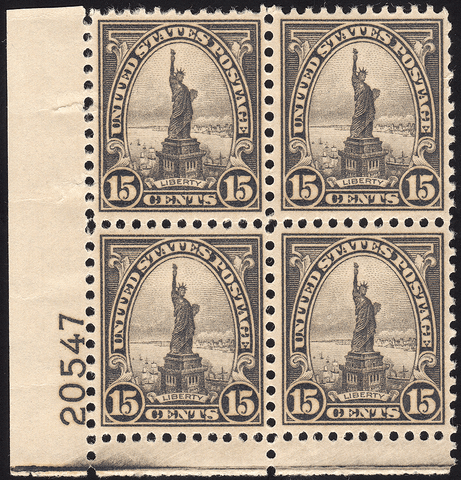 Scott #566 15¢ Statue of Liberty Block of Four - OG N.H. VF