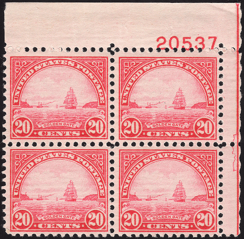 Scott #567 20¢ Golden Gate Block of Four - Mint OG N.H. VF