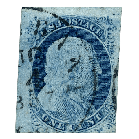 Scott #9 1851 1c Benjamin Franklin - F/VF Used NH
