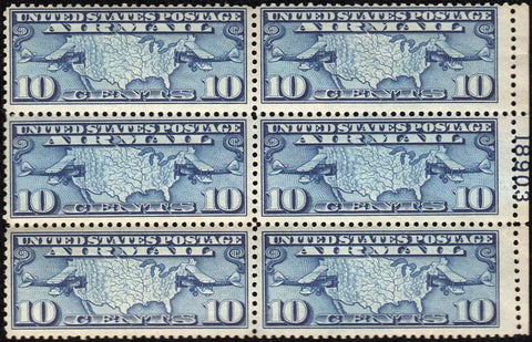 Scott #C7 1926/7 10¢ Air Mail Map Dark Blue Plate Block of 6 - Very Fine OG NH