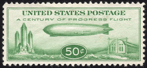 "Scott C18 50¢ US Century of Progress ""Baby Zeppelin"" Stamp - Mint OG N.H. VF"