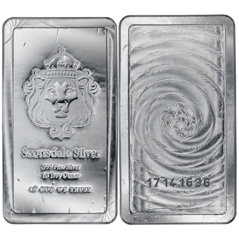 "10 oz Scottsdale Mint .999 Silver ""Stacker"" Bars"